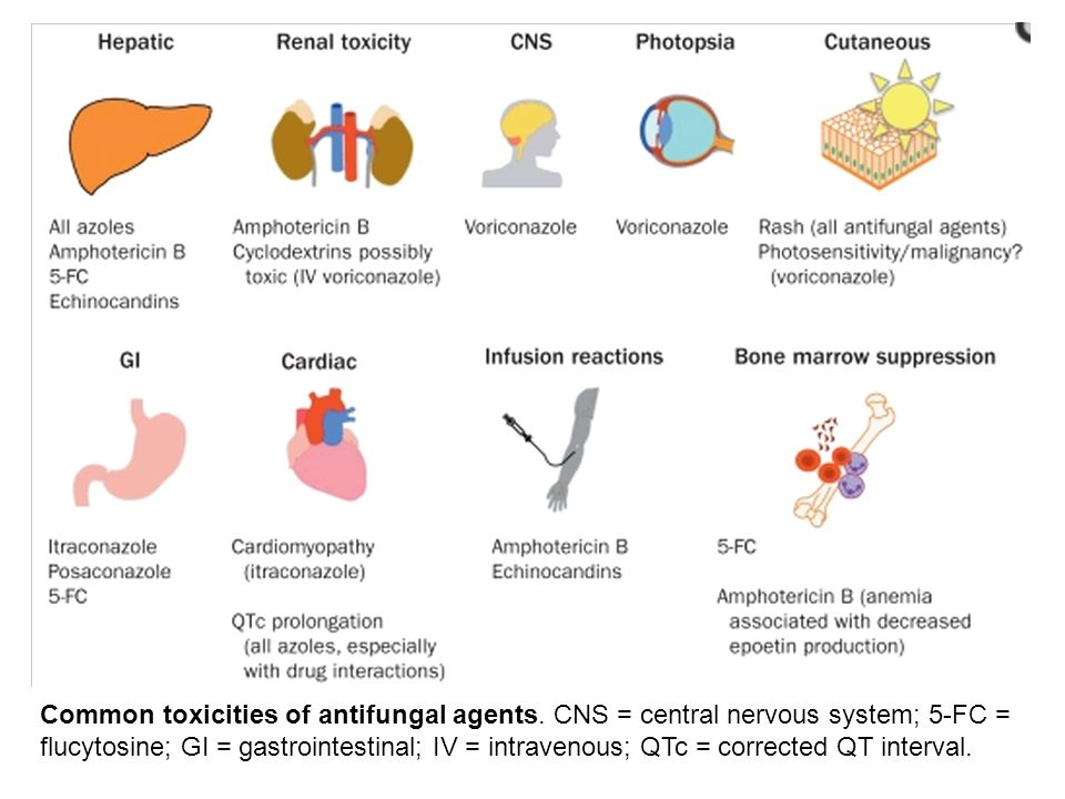 Common toxicities of antifungal agents