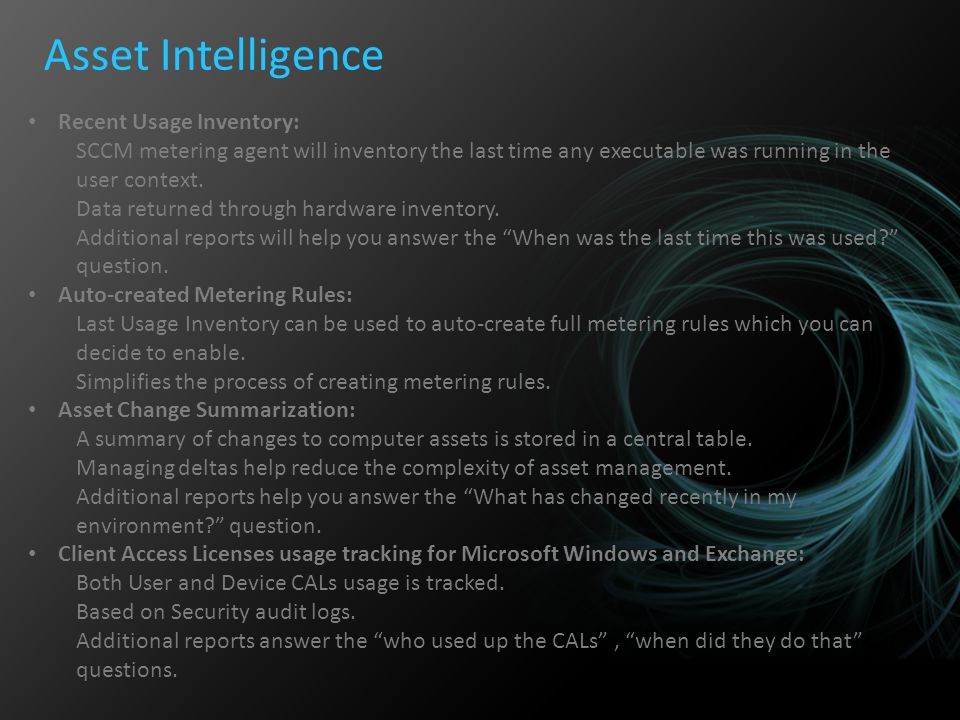 Asset Intelligence Recent Usage Inventory: