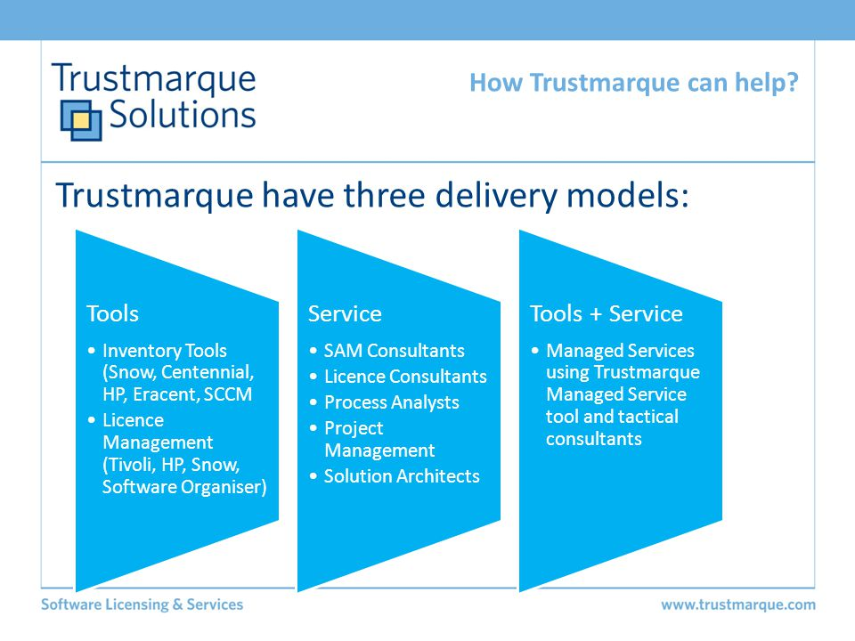 Trustmarque have three delivery models: