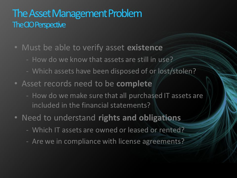 The Asset Management Problem The CIO Perspective