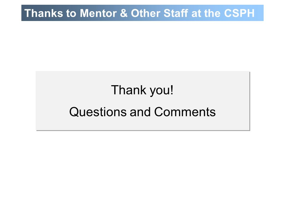 Thanks to Mentor & Other Staff at the CSPH