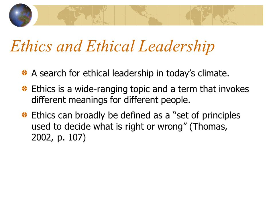 Ethics and Ethical Leadership