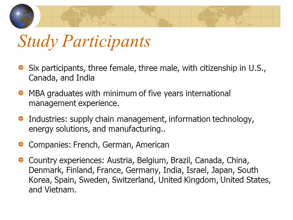 Study Participants Six participants, three female, three male, with citizenship in U.S., Canada, and India.