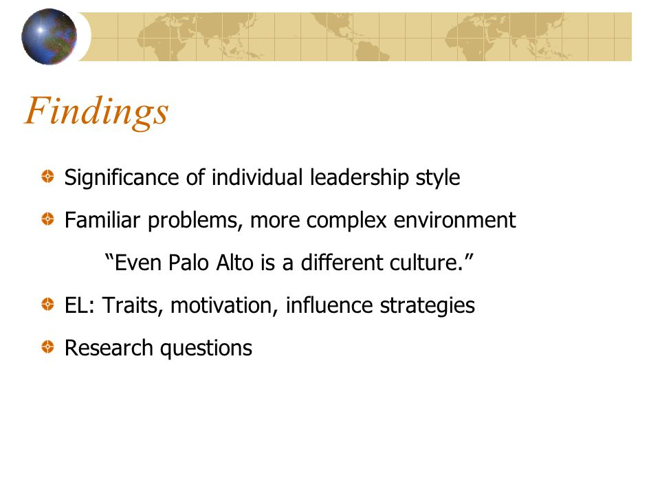 Findings Significance of individual leadership style