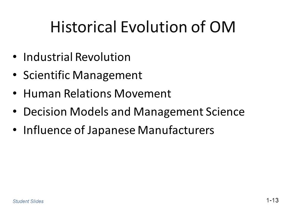 Historical Evolution of OM