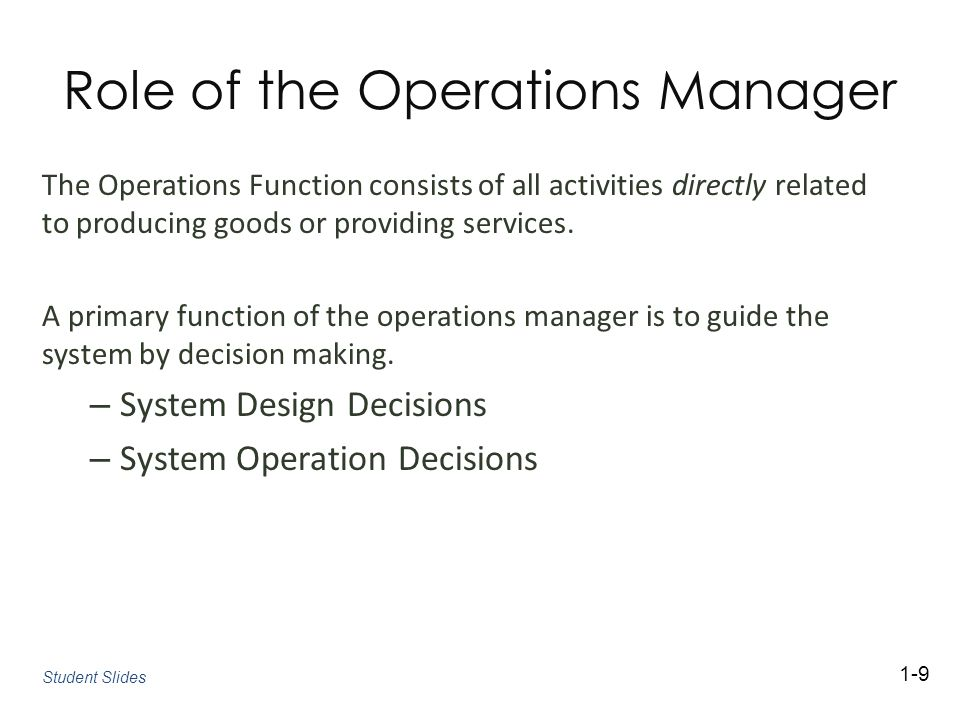 Role of the Operations Manager