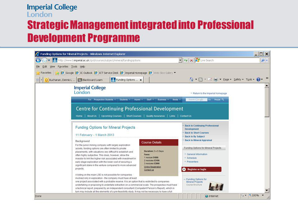 Strategic Management integrated into Professional Development Programme
