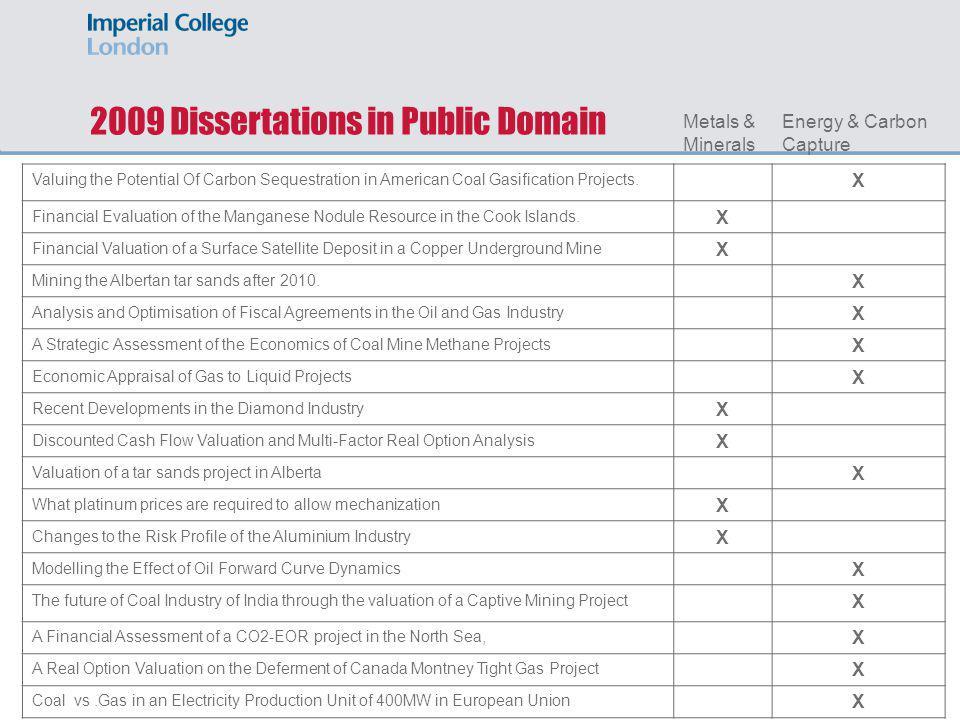 2009 Dissertations in Public Domain