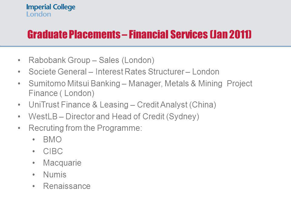 Graduate Placements – Financial Services (Jan 2011)