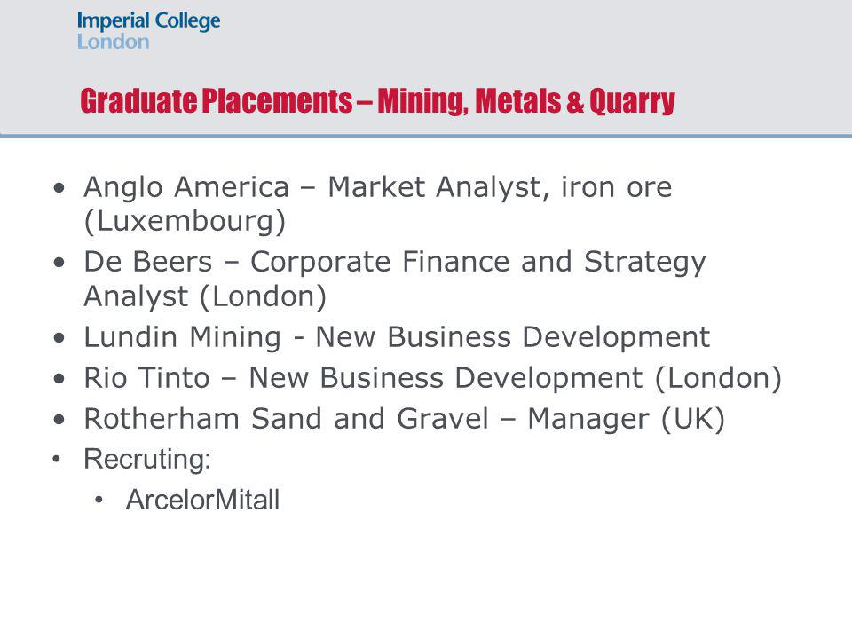 Graduate Placements – Mining, Metals & Quarry