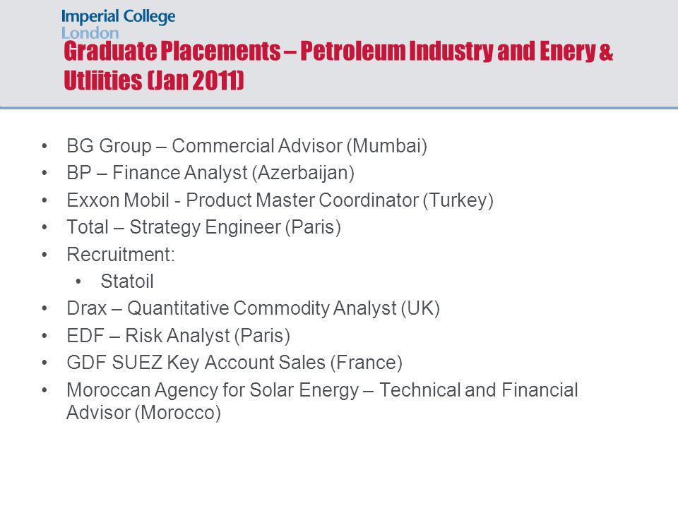 Graduate Placements – Petroleum Industry and Enery & Utliities (Jan 2011)