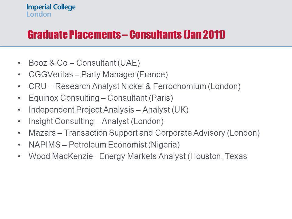 Graduate Placements – Consultants (Jan 2011)
