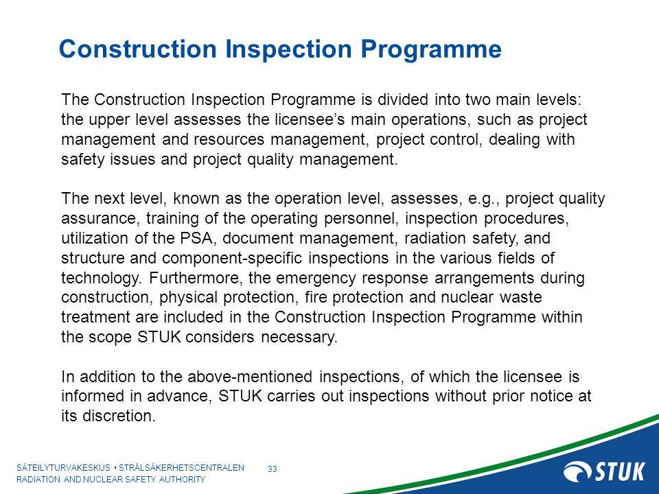 Construction Inspection Programme