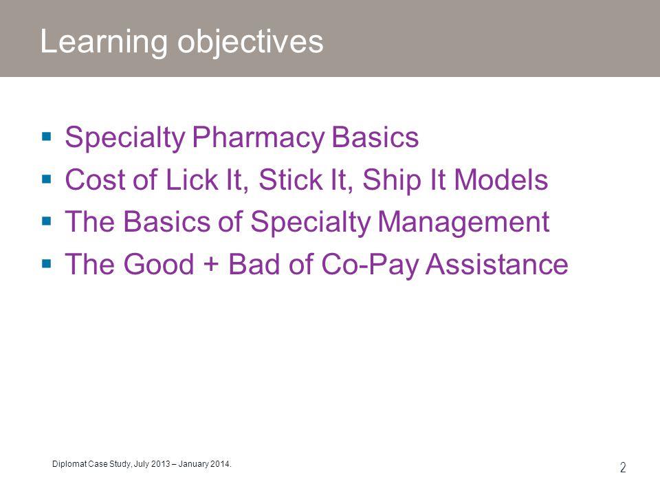 Learning objectives Specialty Pharmacy Basics