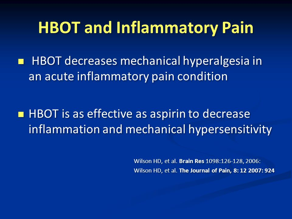 HBOT and Inflammatory Pain