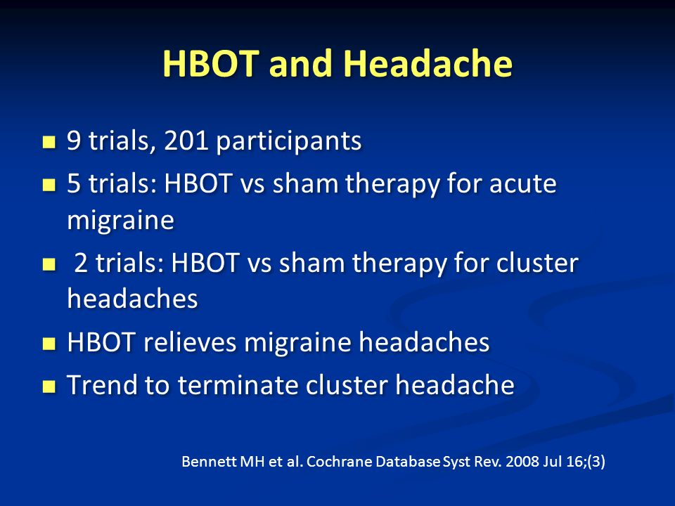 HBOT and Headache 9 trials, 201 participants