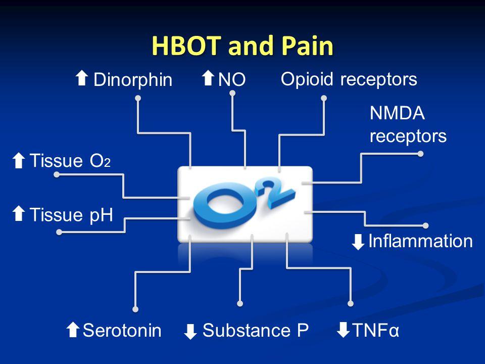 HBOT and Pain Dinorphin NO Opioid receptors NMDA receptors Tissue O2