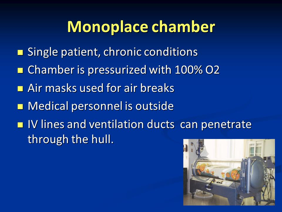 Monoplace chamber Single patient, chronic conditions