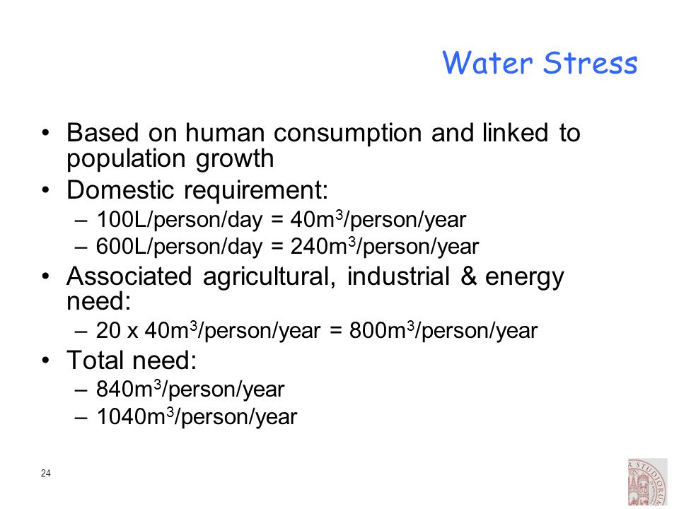 Water Stress Based on human consumption and linked to population growth. Domestic requirement: 100L/person/day = 40m3/person/year.