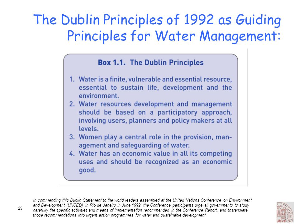 The Dublin Principles of 1992 as Guiding Principles for Water Management: