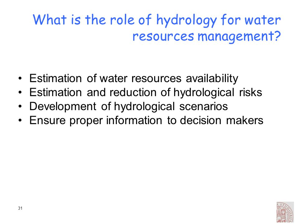 What is the role of hydrology for water resources management