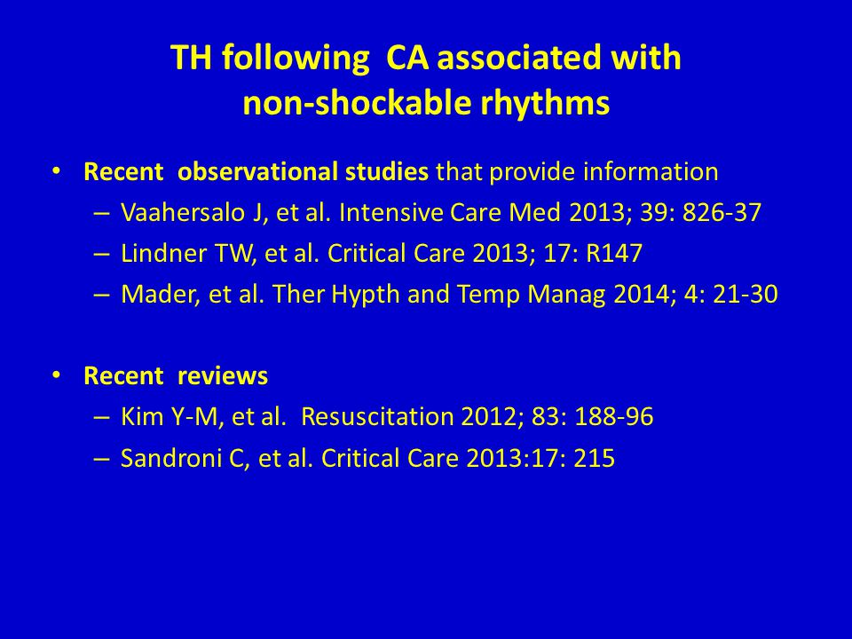 TH following CA associated with non-shockable rhythms