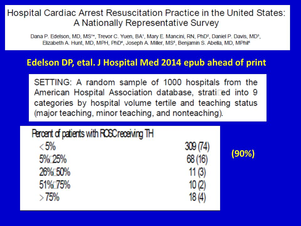 Edelson DP, etal. J Hospital Med 2014 epub ahead of print