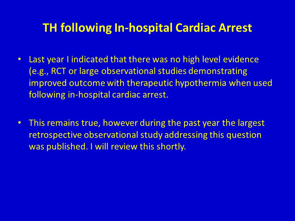 TH following In-hospital Cardiac Arrest