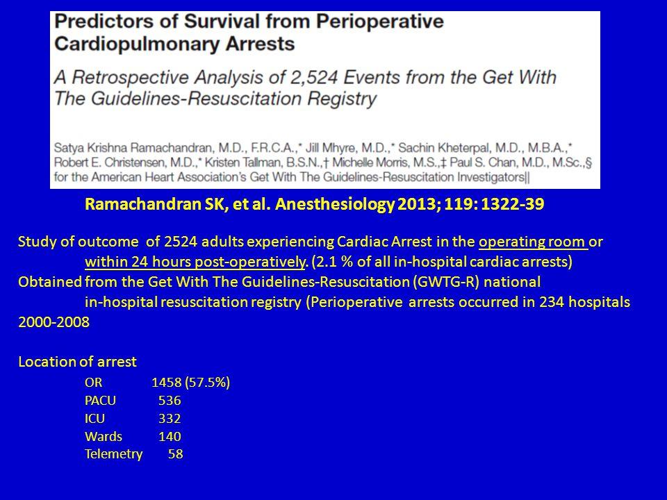 Ramachandran SK, et al. Anesthesiology 2013; 119: 1322-39