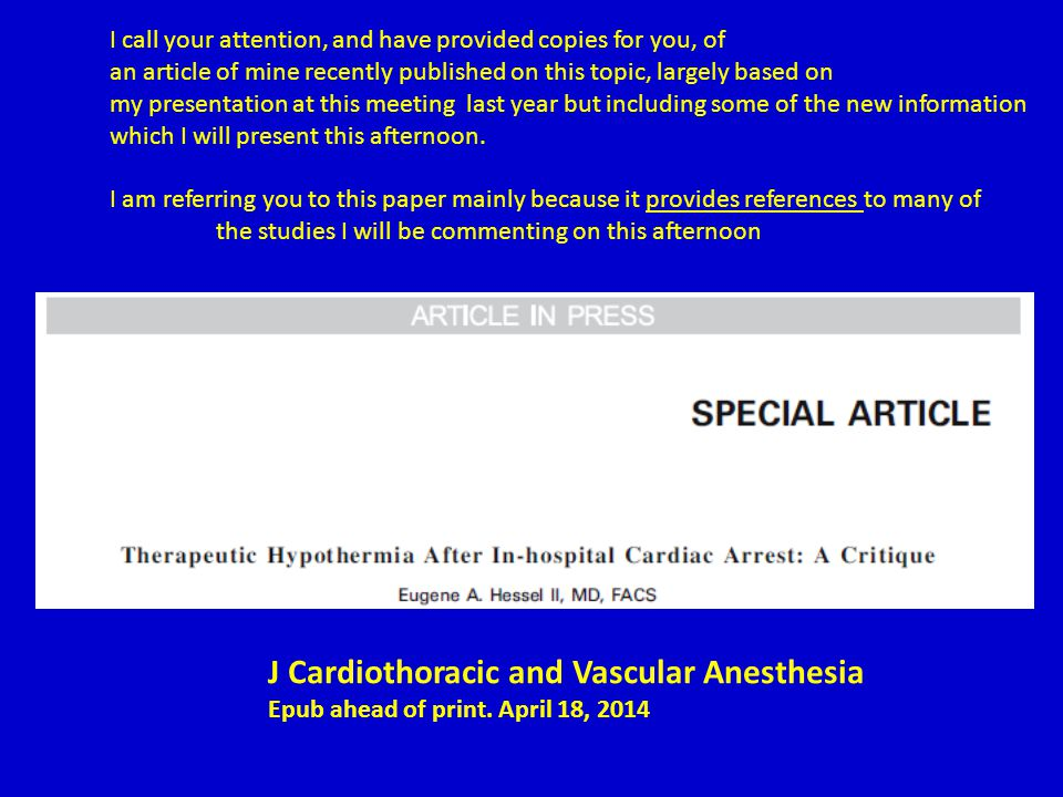 J Cardiothoracic and Vascular Anesthesia