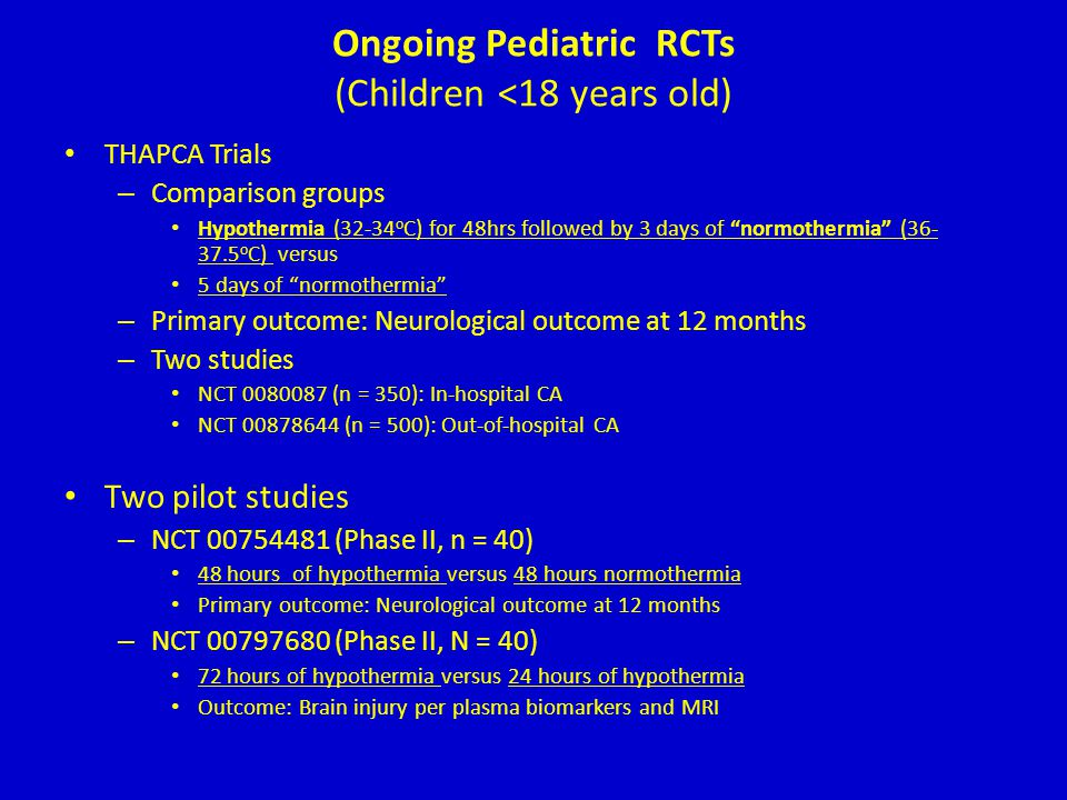 Ongoing Pediatric RCTs (Children <18 years old)