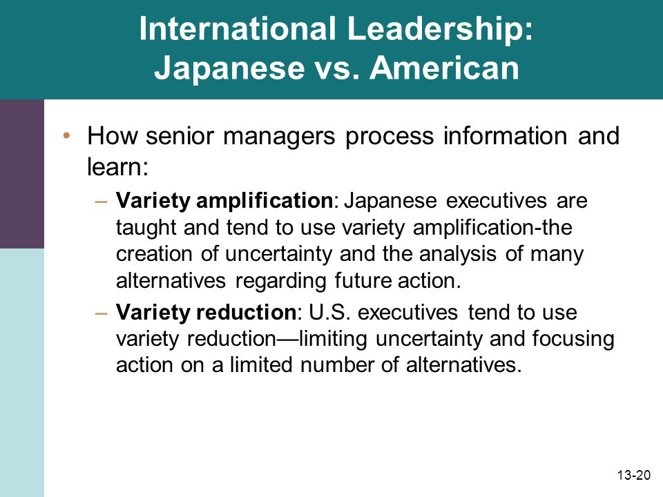 International Leadership: Japanese vs. American