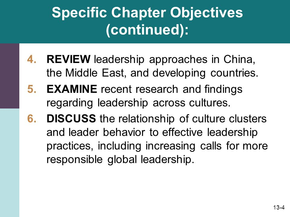 Specific Chapter Objectives (continued):