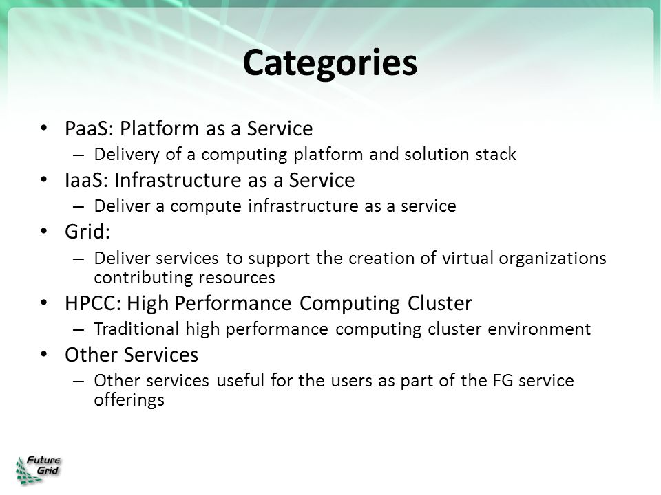 Categories PaaS: Platform as a Service