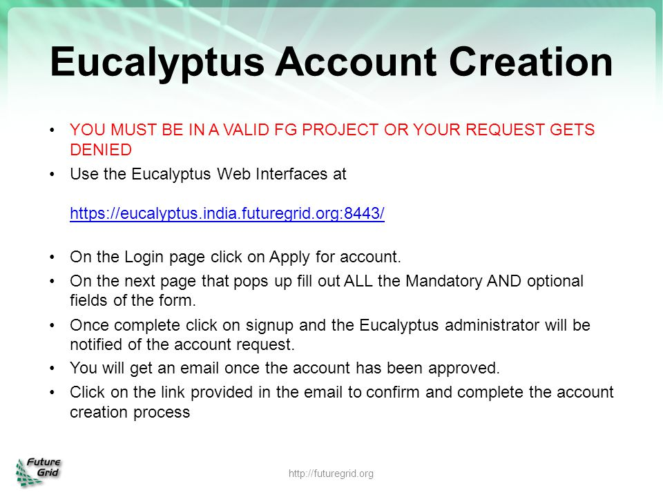Eucalyptus Account Creation