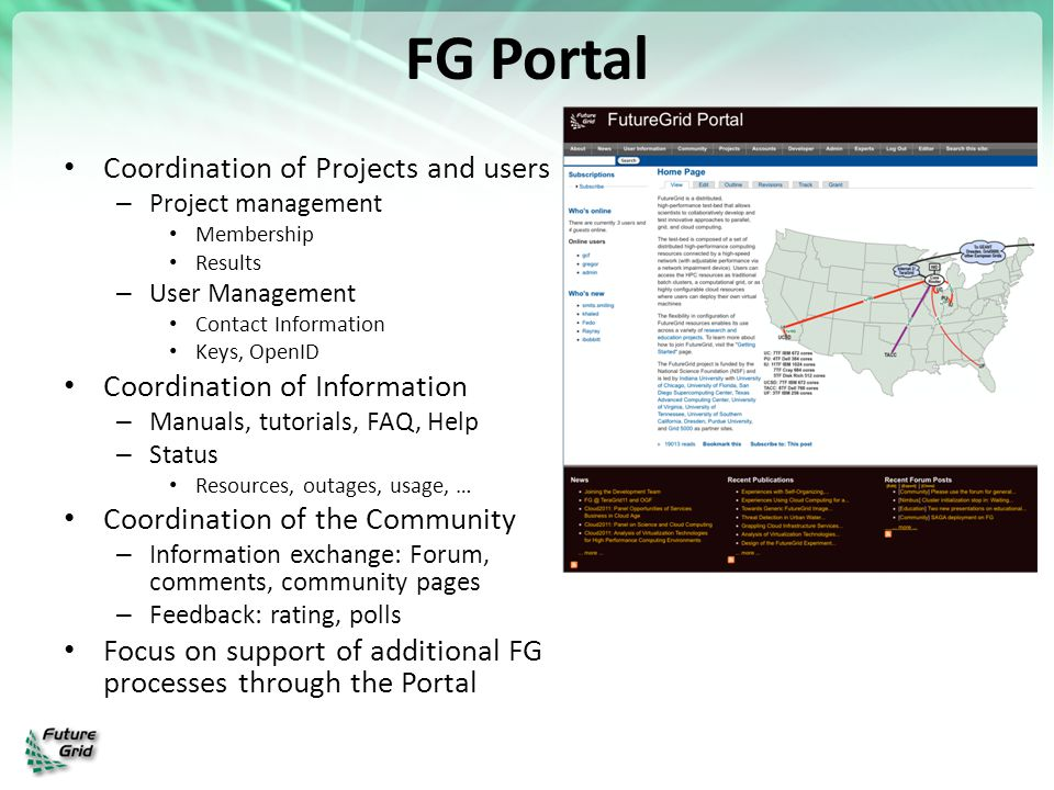 FG Portal Coordination of Projects and users