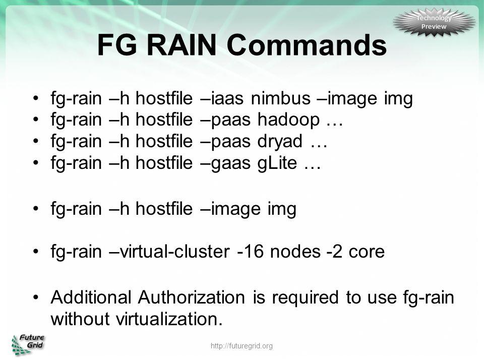 FG RAIN Commands fg-rain –h hostfile –iaas nimbus –image img