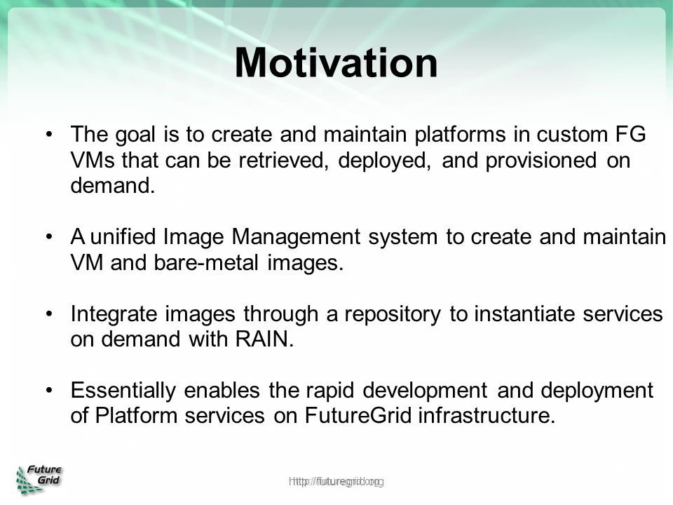 Motivation The goal is to create and maintain platforms in custom FG VMs that can be retrieved, deployed, and provisioned on demand.