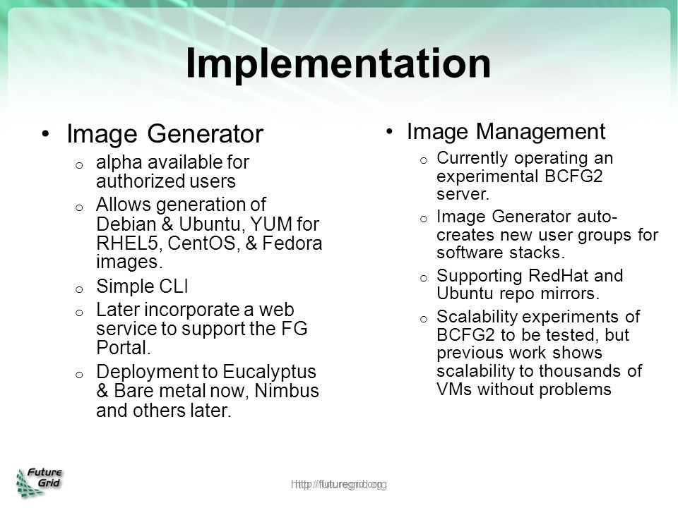 Implementation Image Generator Image Management