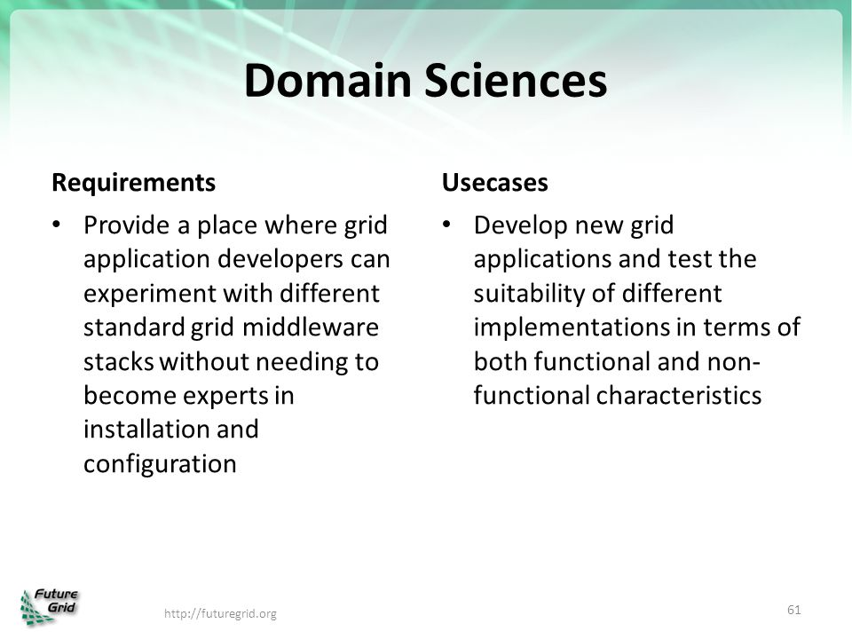 Domain Sciences Requirements Usecases