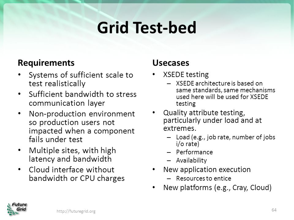 Grid Test-bed Requirements Usecases
