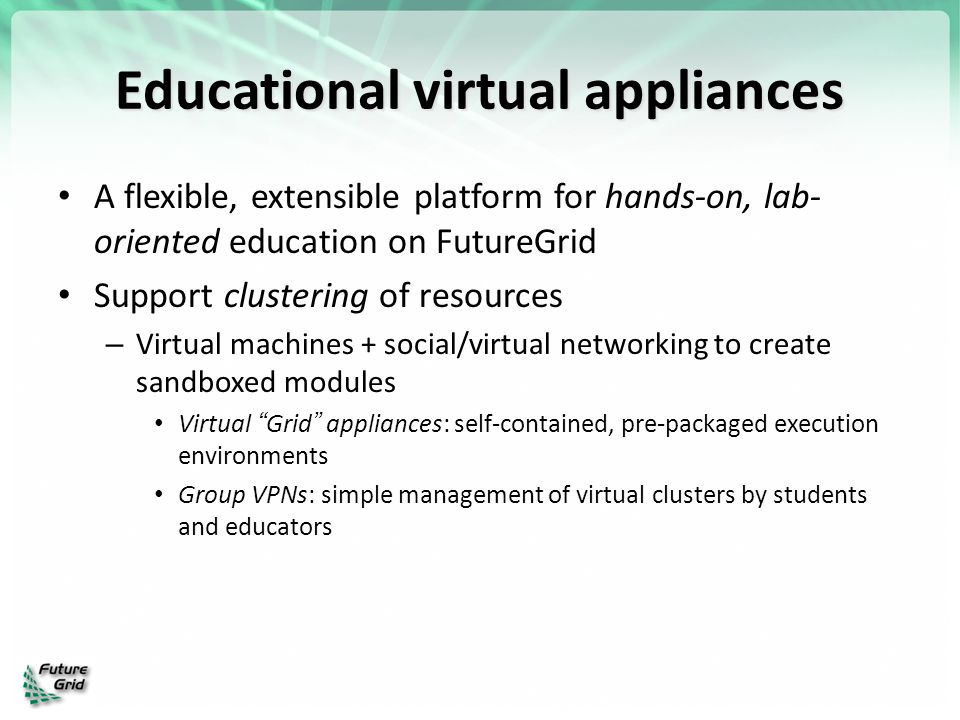 Educational virtual appliances