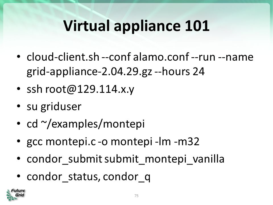 Virtual appliance 101 cloud-client.sh --conf alamo.conf --run --name grid-appliance-2.04.29.gz --hours 24.