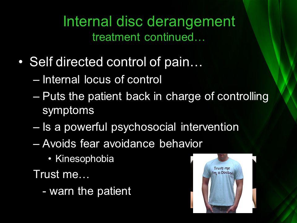 Internal disc derangement treatment continued…