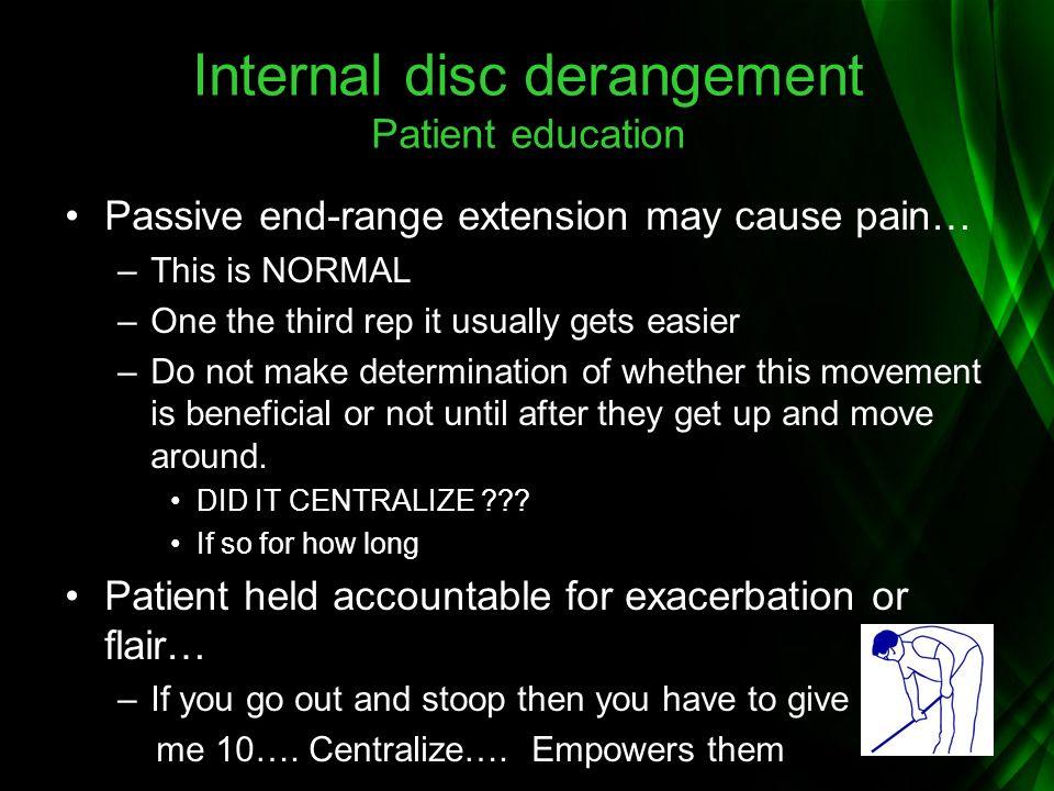 Internal disc derangement Patient education