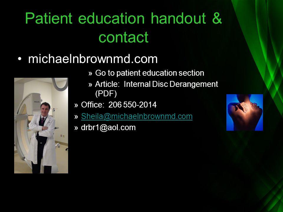 Patient education handout & contact