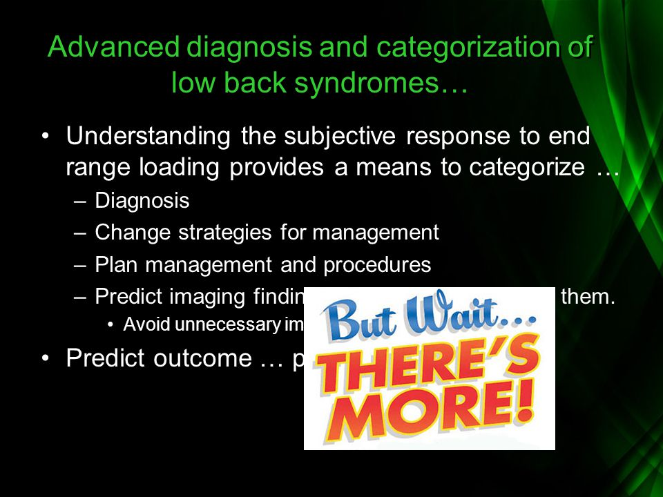 Advanced diagnosis and categorization of low back syndromes…