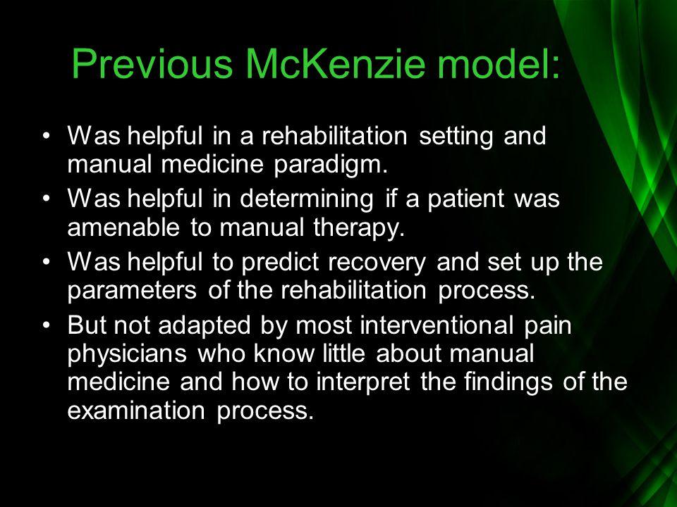 Previous McKenzie model: