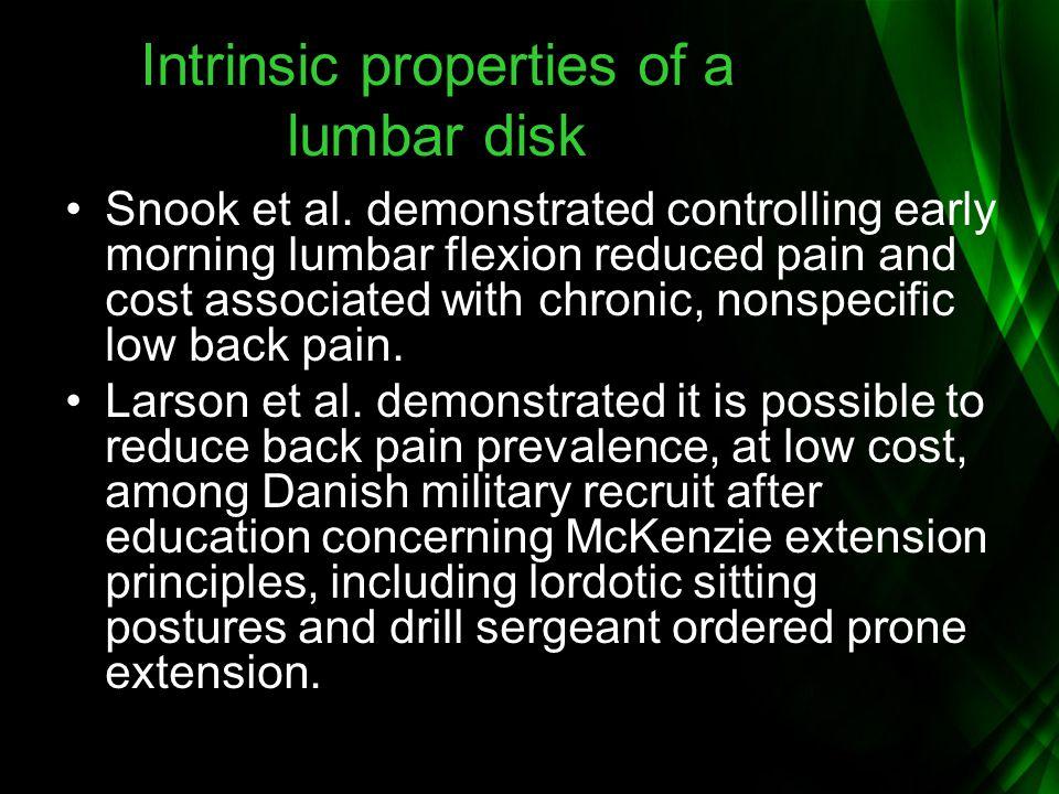 Intrinsic properties of a lumbar disk