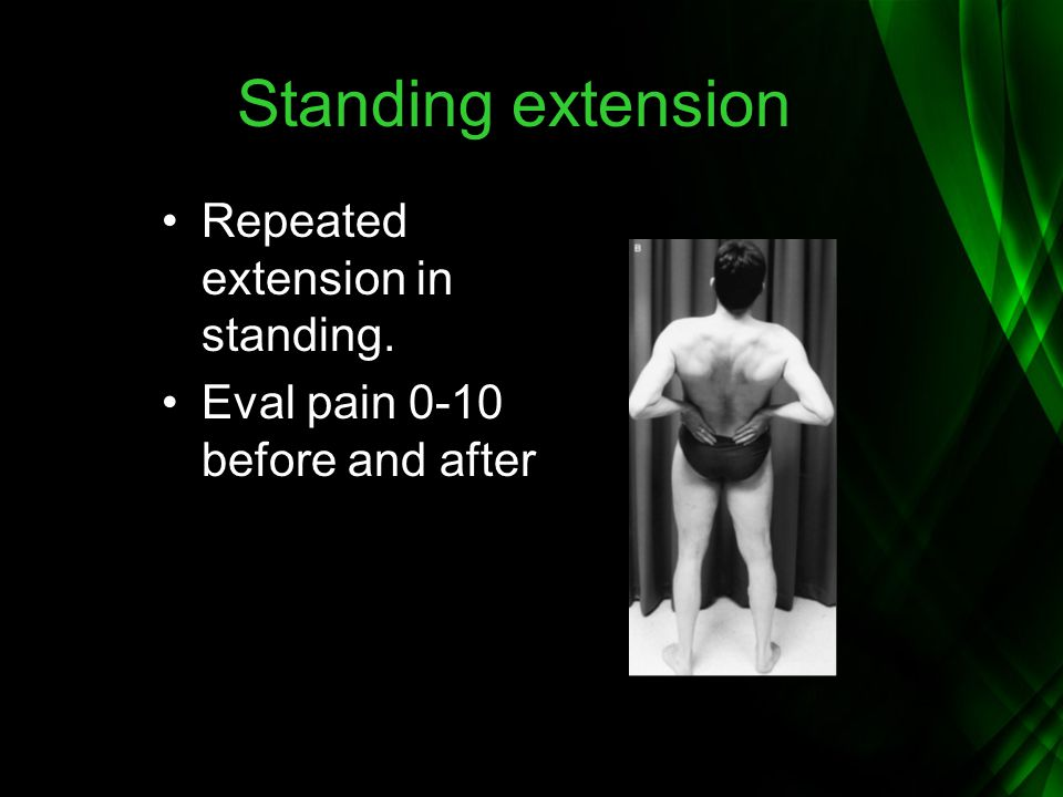 Standing extension Repeated extension in standing.